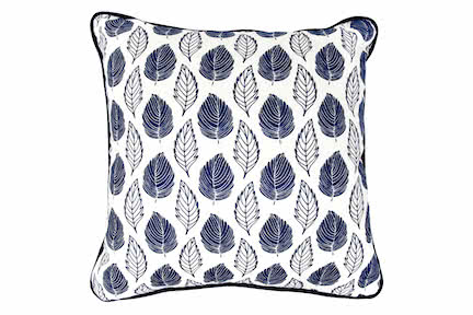 Blue Leaves Linen Throw Pillows
