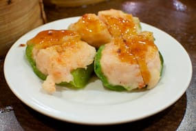 Shrimp Balls on Green Pepper at Silver Dragon